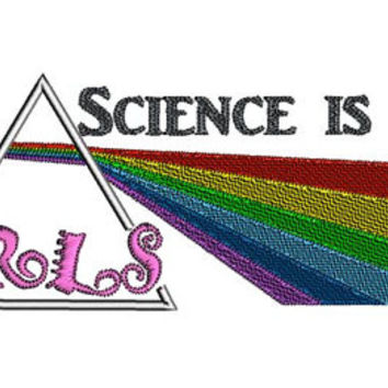 Science is for girls embroidery design. Light dispersion embroidery. Prism design. Rainbow design. Back to School. Geek girl embroidery.
