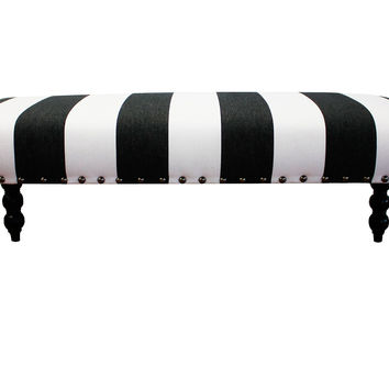 "Carly 48"" Striped Bench, Black/White, Bedroom Bench"