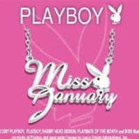 Officially Licensed PLAYBOY Silver Plated MISS JANUARY Playmate of the Month Necklace