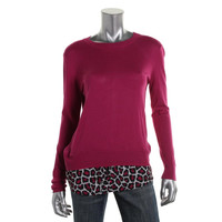 MICHAEL Michael Kors Womens Petites Knit Animal Print Pullover Sweater