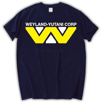 Weyland Industries logo scary movie halloween aliens cult classic costume horror vintage retro Mens T-shirt