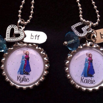 Frozen Best Friends Custom Personalized Necklace, Elsa Anna Charm Necklace, BFF, Children, Kid, Sisters, Birthday Gift,