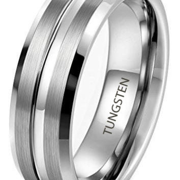 8mm Tungsten Carbide Rings Wedding Band Engagement Promise Brushed