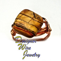 DWJ0259 Genuine Picasso Jasper Solitaire Copper Wire Wrap Ring All Sizes