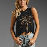 UNIF Weed Leopard Sleeveless Tee in Black