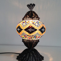 Golden Turkish Mosaic lamp with hand crafted copper base, Small Bedside night lamp, Authentic lamps, Stand lamp, Exotic Lights, Orange Decor