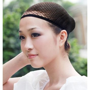 1 Pc Fashion Stretchable Mesh Wig Cap Black Mesh Stretchable Mesh Wig Cap Elastic Hair Snood Nets for Cosplay Free Shipping
