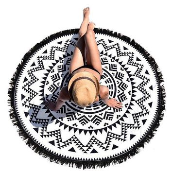 ONETOW 2017 Round Hippie Tapestry Beach Throw Roundie Mandala Towel Women Ladies Beach Cover Up Scarf Pashmina with Tassel