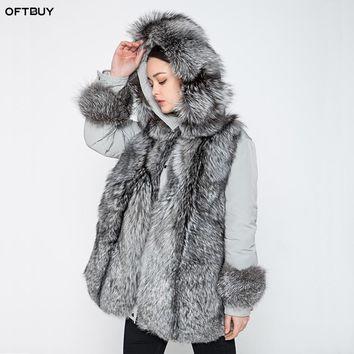 OFTBUY brand 2018 winter jacket women long parka outerwear parkas natural real sliver fox fur collar coat white duck down jacket
