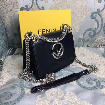 FENDI KAN I LOGO BAG LEATHER CHAIN SHOULDER BAG