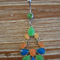 Belly Button Ring - Body Jewelry -Yellow, Green Blue and Orange Crystals with Green Gem Stone Belly Button Ring