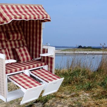 Wicker Beach Chair Sylt Design, Red Colored Plaid Pattern, Stainless Steel