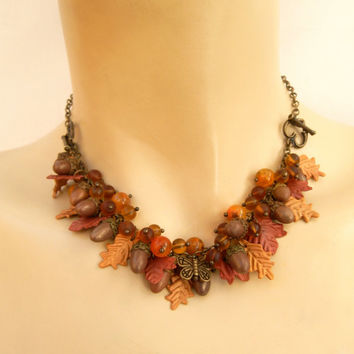 Acorn jewelry - Fall leaves - Handmade Fall jewelry - Necklace turns into a bracelet - Agate jewelry