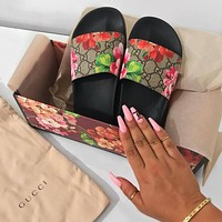 Gucci Casual Fashion Women Floral Print Sandal Slipper Shoes-18