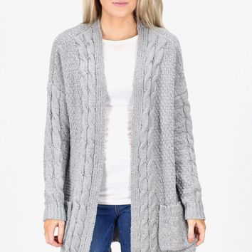 Chunky Chenille Cable Knit Long Cardigan {Grey}