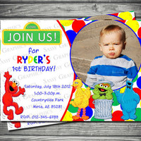 Sesame Street Photo Birthday Invitation