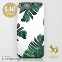 'Banana Leaf Watercolor Pattern' #iPhone Slim Case ~ Sold! #society6 by 83oranges.com | Society6