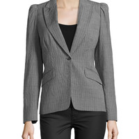 Puff-Shoulder One-Button Stripe Jacket, Banker/White, Size: