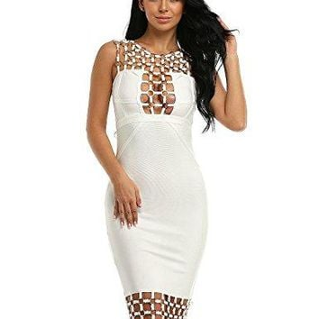 Women's Bandage Club Dresses Circle Hollow Out Sleeveless Backless Sexy Bodycon