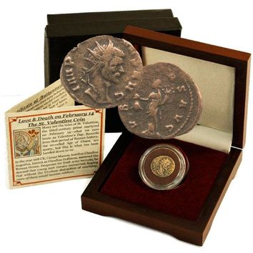 Father of Valentine's Day Box: Bronze Coin of Roman Emperor Claudius II Gothicus