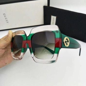 ONETOW New Authentic Gucci Sunglasses GG178S Women's Transparent Green Oversized Square