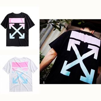 OFF WHITE Tide brand gradient pink Singapore limited rainbow arrow printing cotton loose short-sleeved men's couple T-shirt