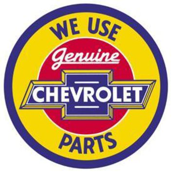 Tin Sign Round Chevy Genuine Parts