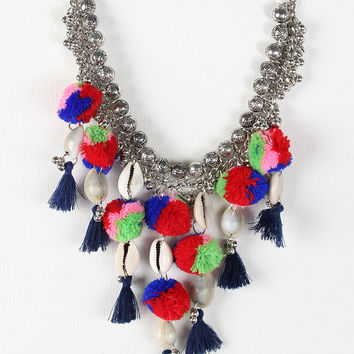 Pompom Cowries Shells Bib Necklace