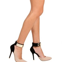 Beige/Black D'Orsay Pumps