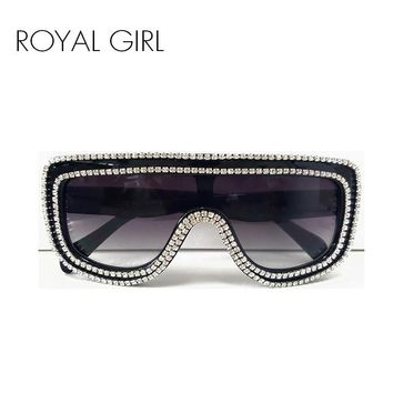 ROYAL GIRL Luxury Women Sunglasses Rhinestones Rim Designs Sun glasses