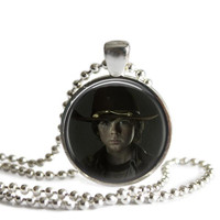 Carl Grimes Necklace Inspired by Walking Dead Handmade Silver Plated Pendant