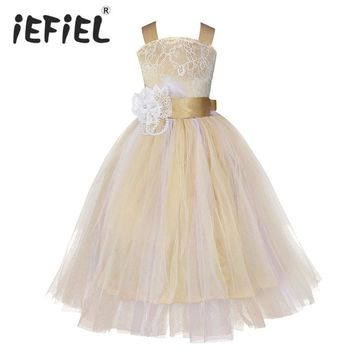 iEFiEL Kids Girls Wedding Flower Girl Dress Princess Party Pageant