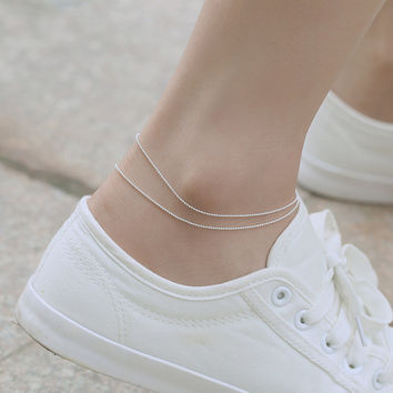 Shiny Ladies Sexy Cute New Arrival Gift Jewelry Simple Design Double-layered Korean Stylish Chain Accessory Anklet [7587130503]