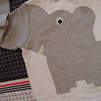 Elephant Trunk sleeve sweatshirt sweater jumper UNISEX Medium white elephant shirt