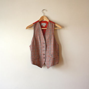 Plaid Wool Tweed Vintage Vest Maroon Silk Back Dressy Womens Small