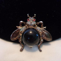 Trifari Sterling Jelly Belly Bug Fly Insect Brooch Pin Alfred Philippe Brunialti Book Piece