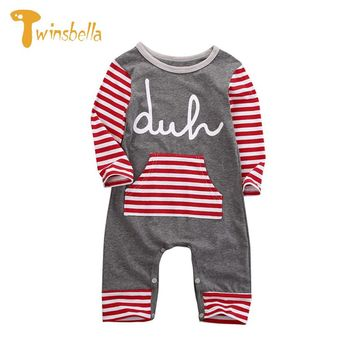 Baby Romper - Striped Christmas Baby Onesuit With Pocket