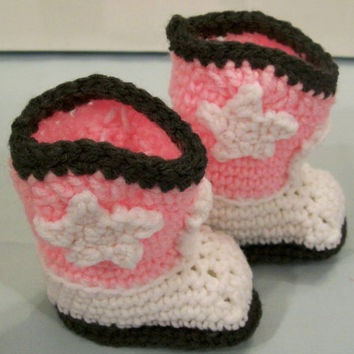Baby Cowboy Boots-Charcoal White and Pink-Booties-Shoes-Baby shower Gift--#131