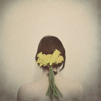 Flower Portrait, Flowers In Her Hair,  5x5 Print, Dreamy, Grey, Yellow, Conceptual, Feminine Fine Art Photography