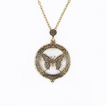 Butterfly Pendant Necklace  Magnifying Glass Necklace Vintage