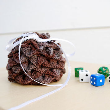 Brown and grey dragon egg dice bag - crocheted dragon scale pouch - brown DnD bag - gifts for gamers - small handmade drawstring dice bag -