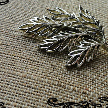 Silver Leaf Brooch Leaf Bouquet Pin Brooch Textural Leaf Nature Pin Leaves Pin Brooch