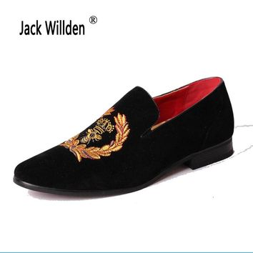 Jack Willden Men's Casual Loafers Genuine Leather Slip-on Dress Shoes Handmade Smoking Slipper Men Flats Wedding Party Shoe