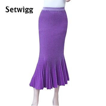 SETWIGG Womens Autumn Winter Thick Long Knit Mermaid Skirts Stretch Flounced Hem Bodycon Knitted Ankle-length Trumpet Skirts