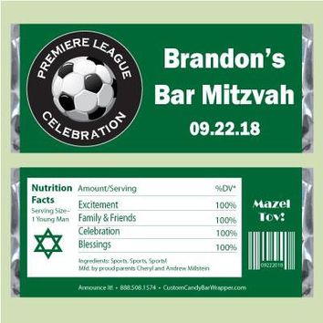 Soccer Bar Mitzvah Candy Bar Wrappers