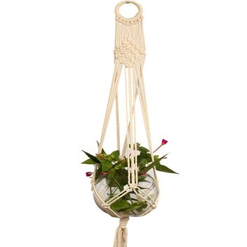 AsyPets Macrame Plant Hanger Indoor Outdoor Hand Knit Hanging Suspend Planter Basket Net Cotton Rope -25