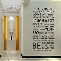 EMIRACLEZE Christmas Gift Holiday Shopping We are Family Quote English Letter Removable Mural Wall Stickers Wall Decal for Living Room Home Decor