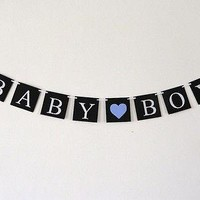 Baby Boy Banner Gender Reveal Baby Shower Banner Paper Garland Photo Prop
