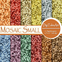"Mosaic digital paper ""Mosaic Small"" scrapbook papers, geometric background, tiles pattern, mosaic clipart, invitations, cards, collage"