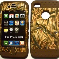 Camo Ducks on Brown Silicone Skin for Apple iPhone 4 4S Hybrid 2 in 1 Rubber Cover Hard Case fits Sprint, Verizon, AT&T Wireless:Amazon:Cell Phones & Accessories